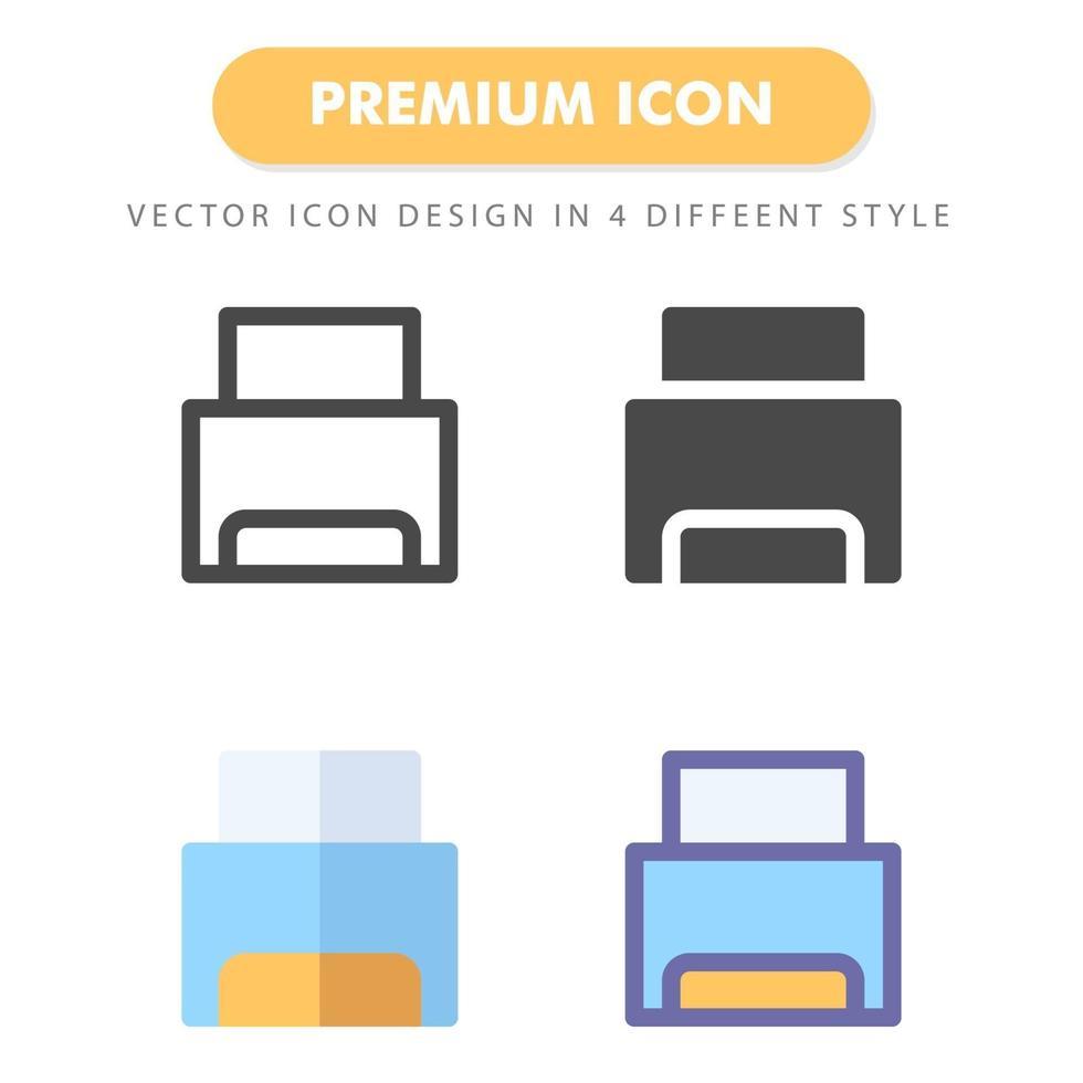 pack d'icônes d'imprimante isolé sur fond blanc. pour la conception de votre site Web, logo, application, interface utilisateur. illustration graphique vectorielle et trait modifiable. eps 10. vecteur