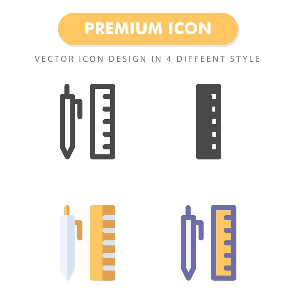 pack d'icônes stylo et règle isolé sur fond blanc. pour la conception de votre site Web, logo, application, interface utilisateur. illustration graphique vectorielle et trait modifiable. eps 10. vecteur