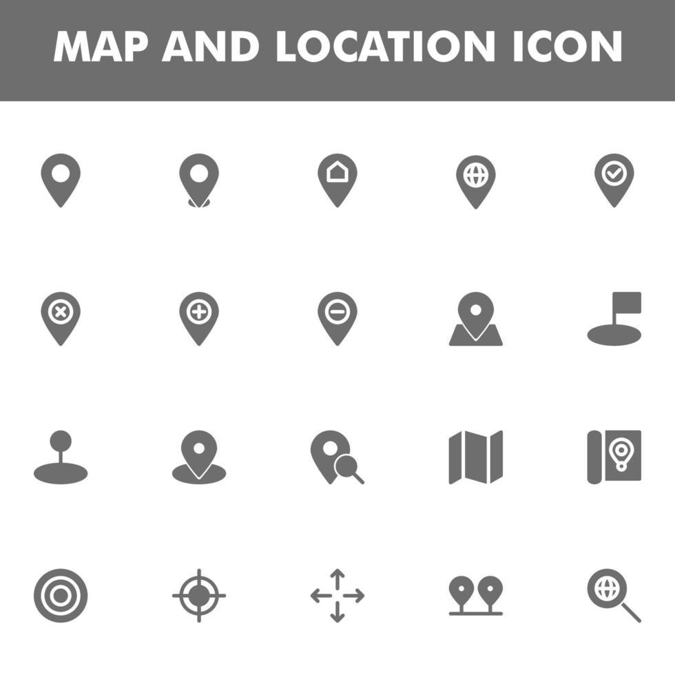 pack d'icônes de carte et emplacement isolé sur fond blanc. pour la conception de votre site Web, logo, application, interface utilisateur. illustration graphique vectorielle et trait modifiable. eps 10. vecteur