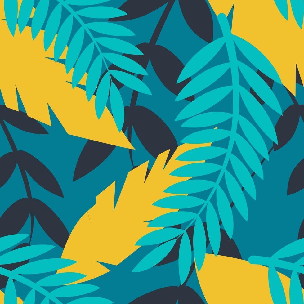 vecteur transparente motif plat lumineux avec une branche de palmier et autres plantes