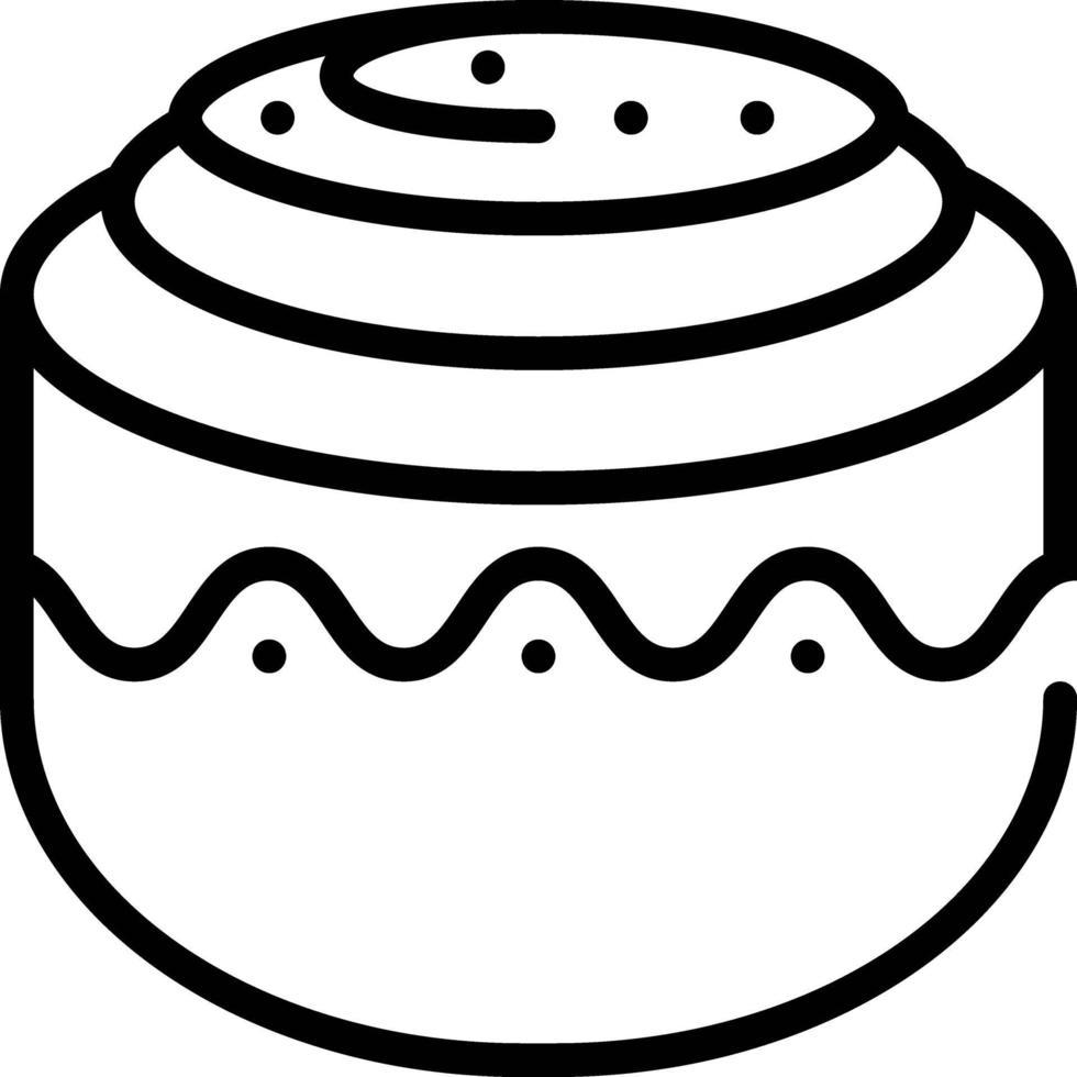 icône de ligne pour brioche à la cannelle vecteur