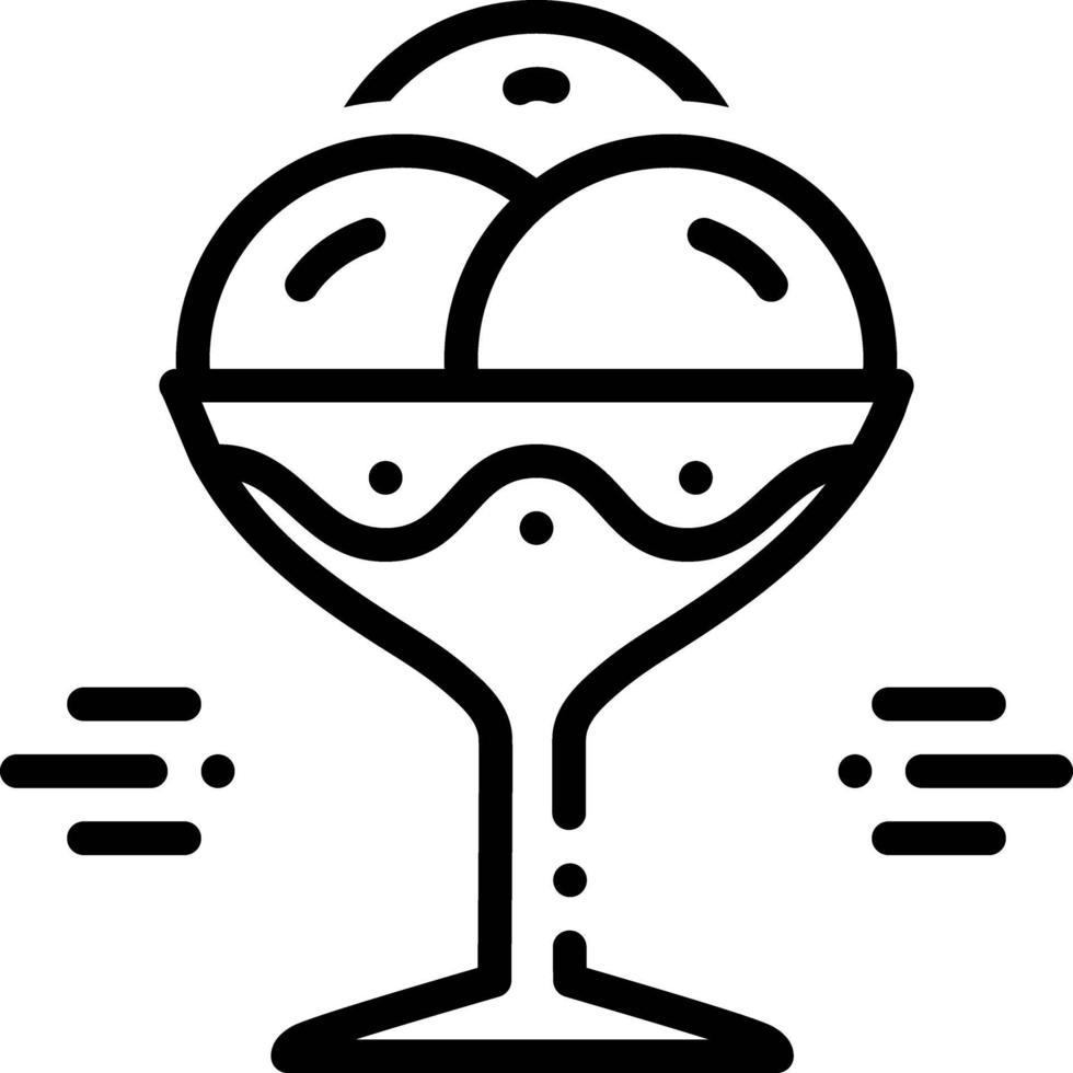 icône de ligne pour bol de crème glacée vecteur