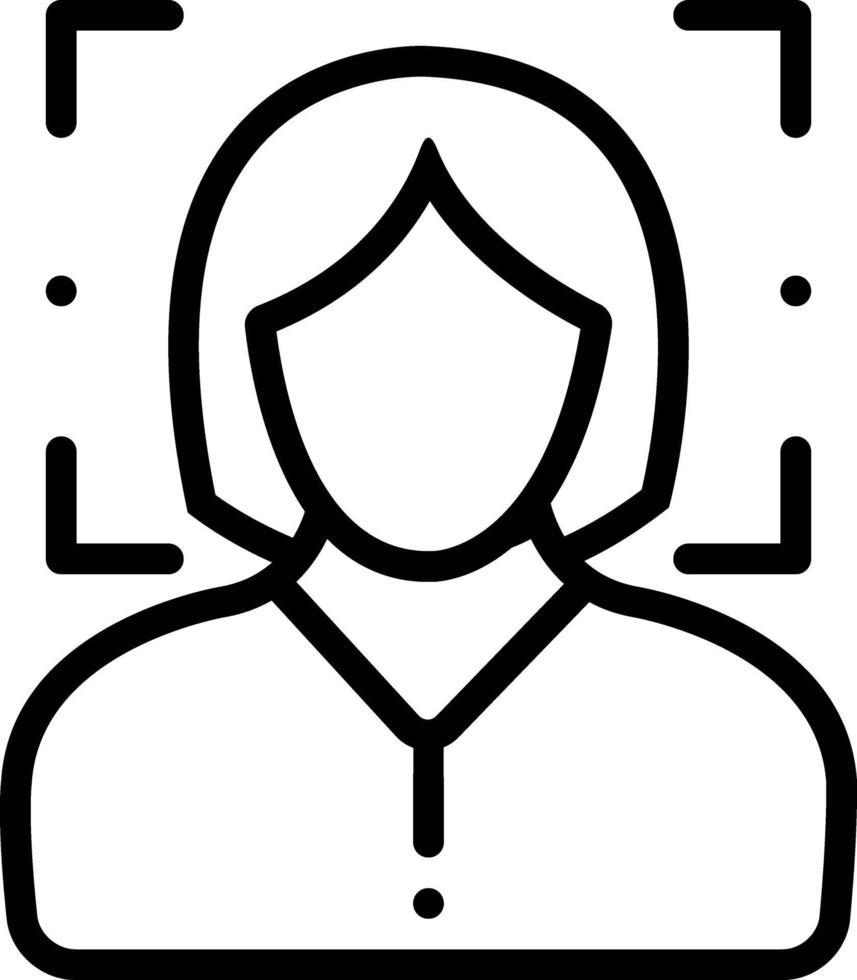 icône de la ligne pour la reconnaissance du visage féminin vecteur