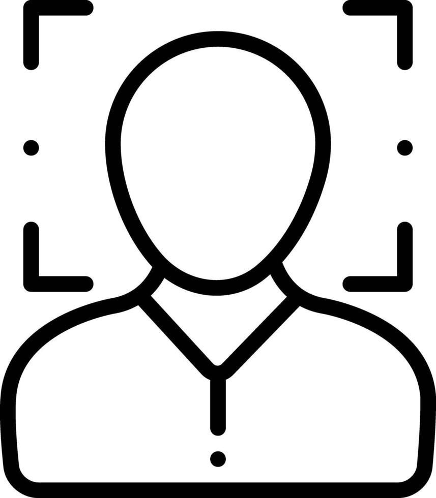 icône de la ligne pour la reconnaissance faciale vecteur
