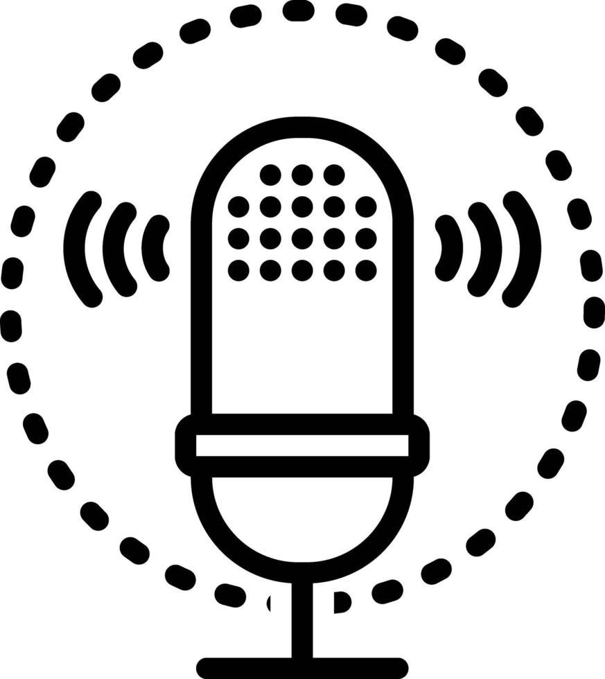 icône de ligne pour la reconnaissance vocale vecteur