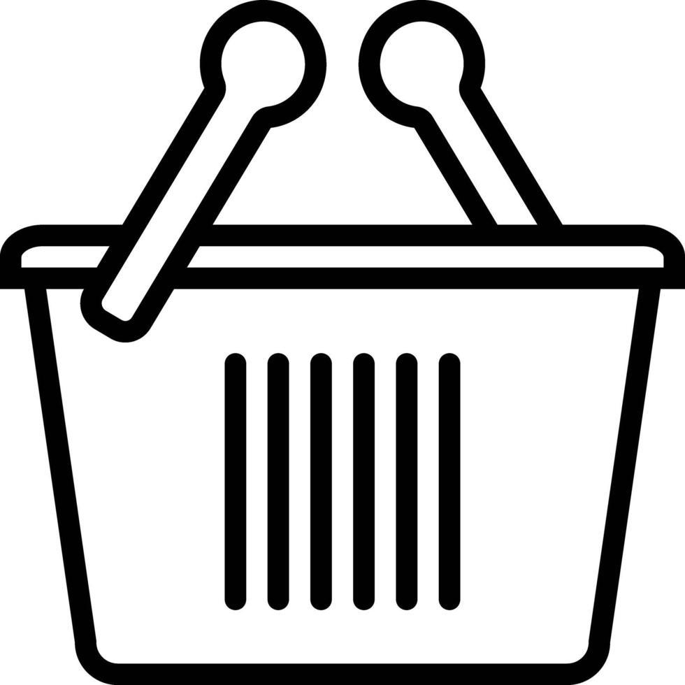 icône de ligne pour panier vecteur