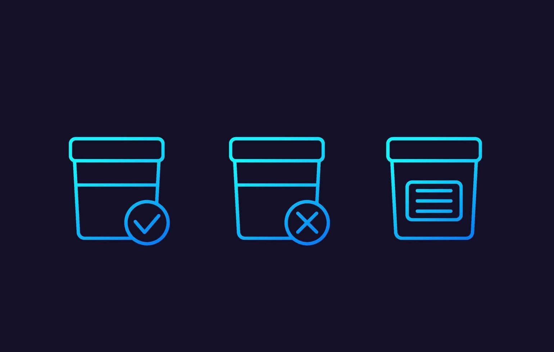 test d'urine, icônes linéaires vectorielles vecteur