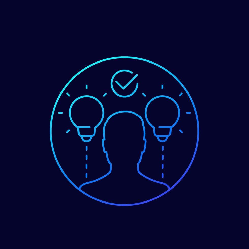 icône de ligne idées et idées vecteur