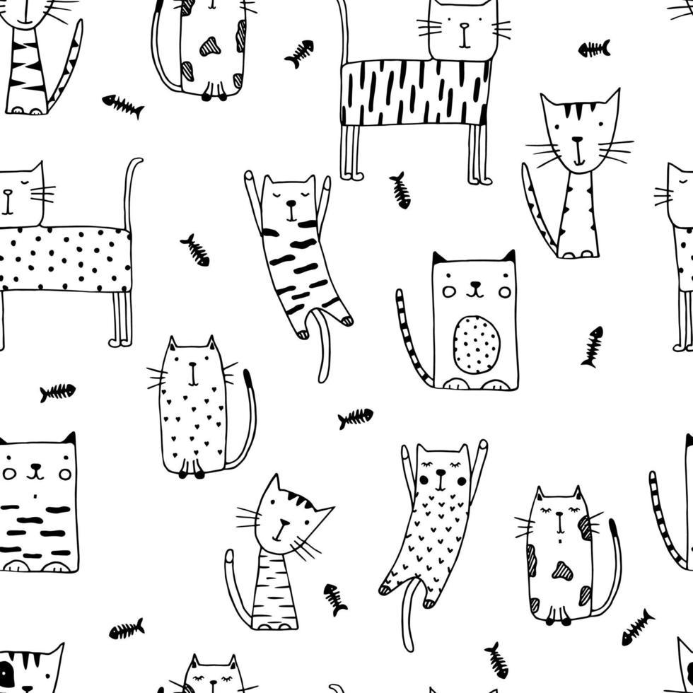 doodle chats drôles sans soudure avec des poissons. vecteur
