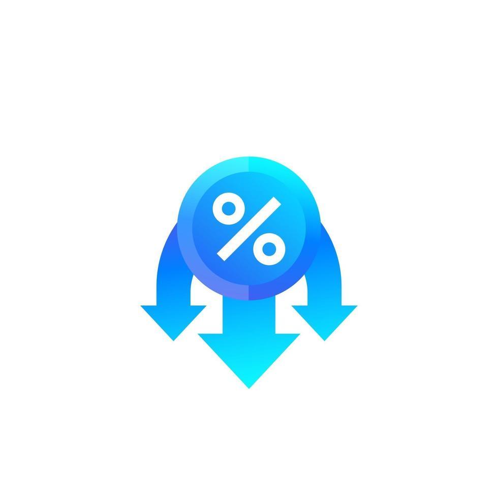 taux réduit, icône de pourcentage vers le bas vecteur