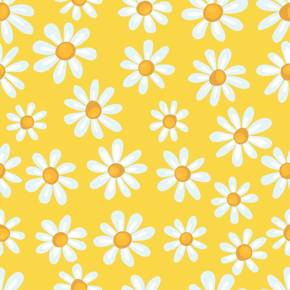 motif de printemps sans couture avec camomille simple sur fond jaune. impression pour tissu et papier d'emballage. vecteur