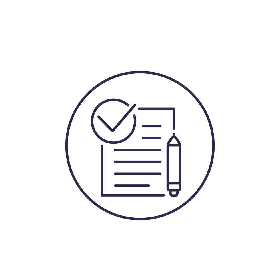 contrat, icône de la ligne vecteur
