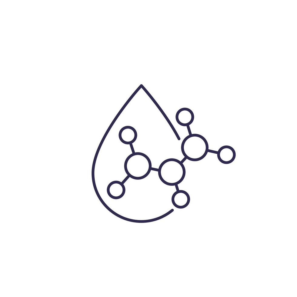 icône de goutte d & # 39; acide, vecteur de ligne