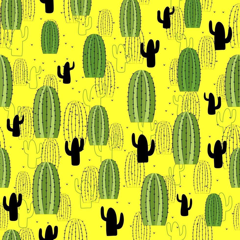 définir l'illustration de cactus mignon sans soudure. motif tropical de différents cactus, aloès et fleurs. impression pour tissu, coque de téléphone et papier d'emballage. vecteur