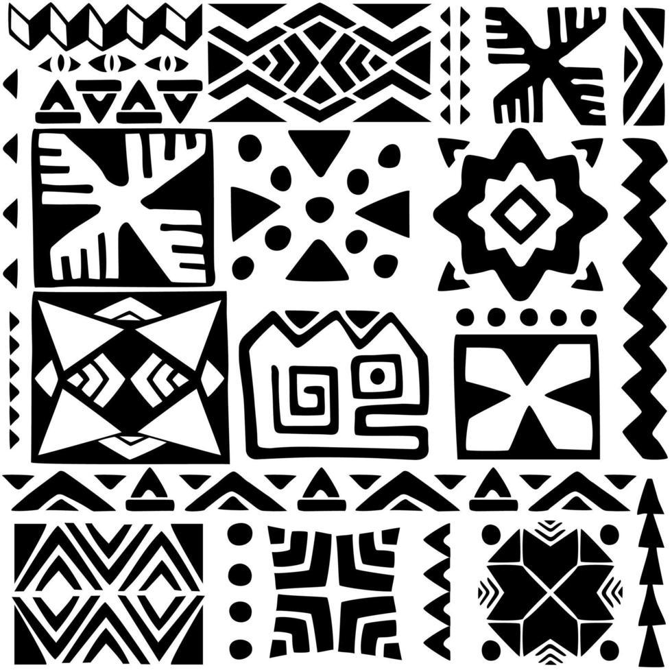 éléments ethniques, dessins anciens. modèle sans couture géométrique noir et blanc vecteur