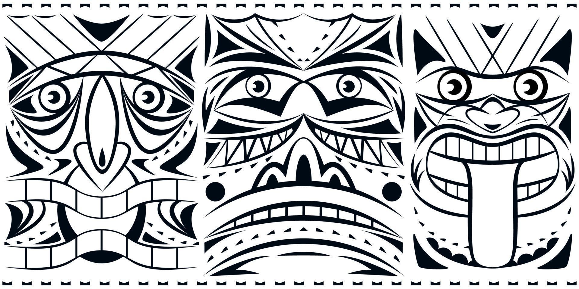 collection de jeu de masque totem géométrique. impression monochrome. vecteur