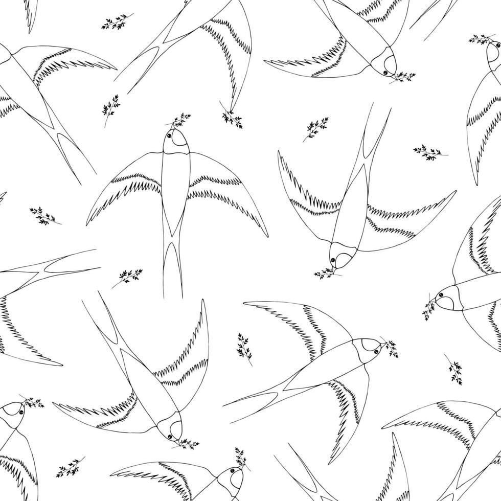 modèle sans couture avec des hirondelles et des brindilles volantes. illustration dans un style plat de dessin animé. vecteur