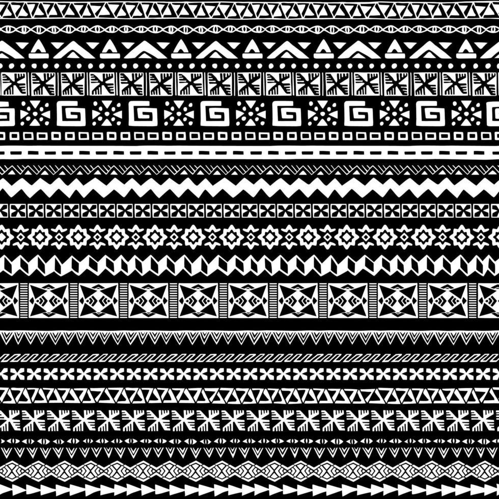collection de différents motifs géométriques. motif monochrome sans soudure. vecteur