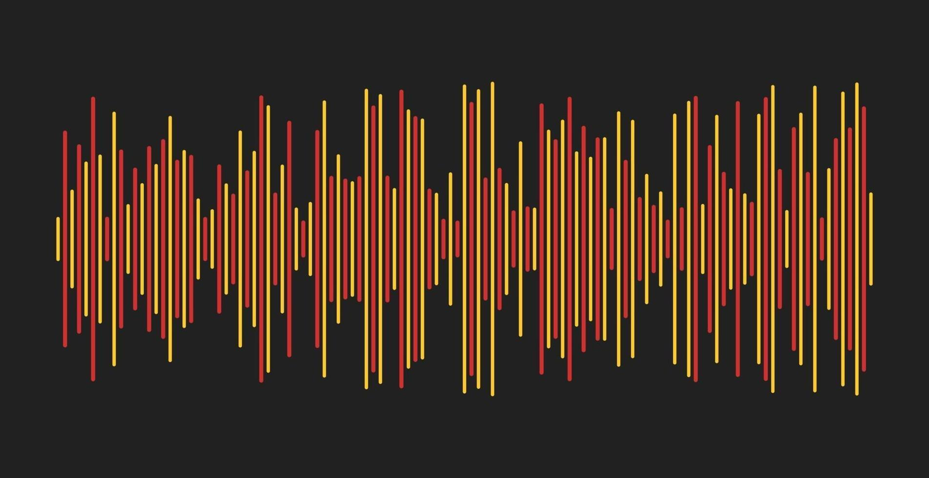 onde sonore bicolore sur fond sombre vecteur
