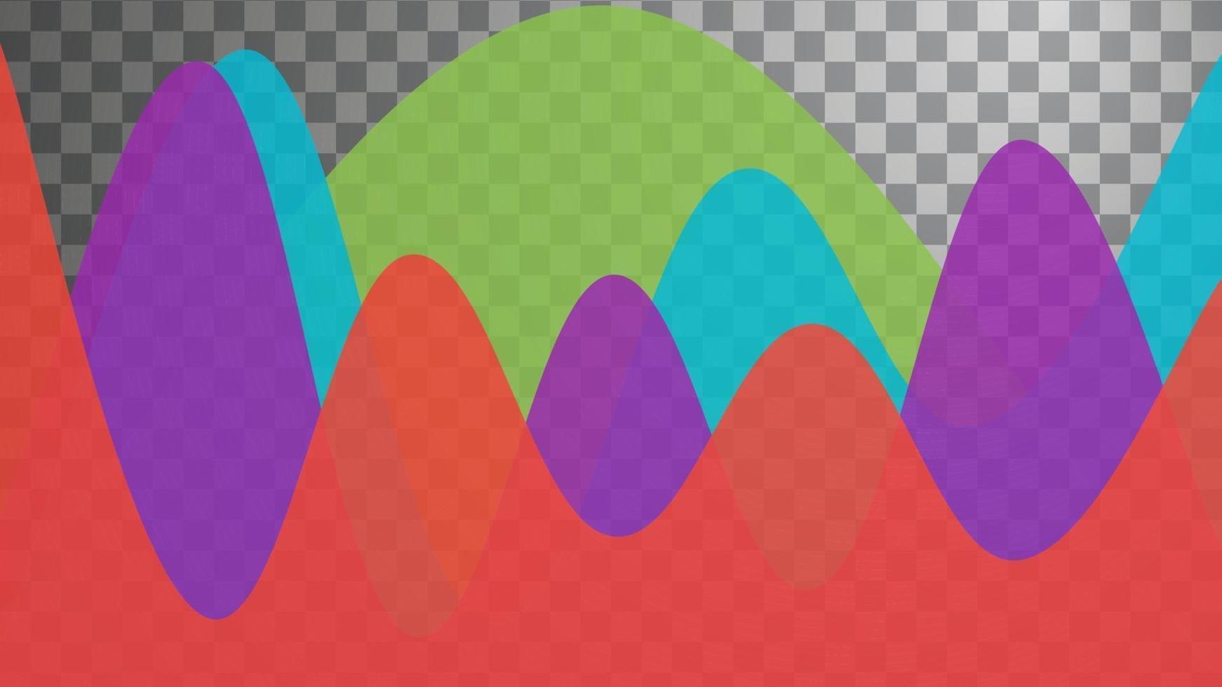 quatre vagues empilées colorées sur fond transparent vecteur