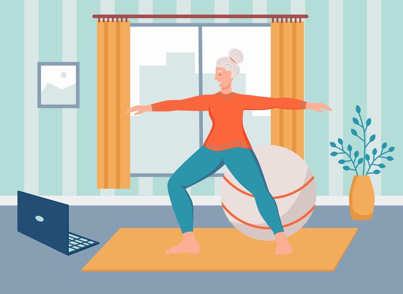 une femme âgée fait du yoga à la maison. le concept de la vieillesse active, du sport et du yoga. jour des personnes âgées. illustration vectorielle de dessin animé plat. vecteur
