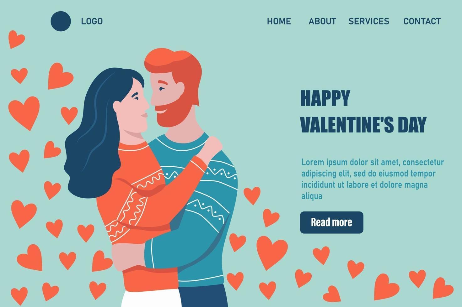 modèle de vecteur de page de destination de la Saint-Valentin heureuse. câlins de couple aimant. un rendez-vous, un homme et une femme amoureuse célèbrent. illustration vectorielle plane