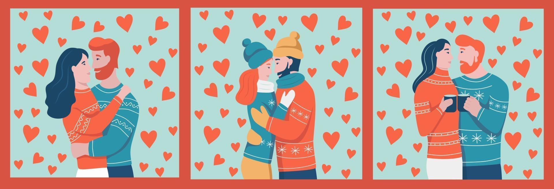 un ensemble de cartes et de modèles pour la Saint-Valentin. le couple s'étreint. jeunes amoureux. un homme et une femme sur le fond des coeurs. illustration vectorielle de dessin animé plat. vecteur