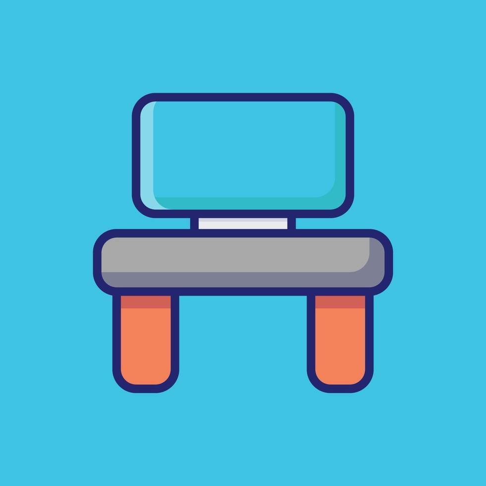 illustration d'icône de vecteur de bureau. style de dessin animé plat adapté à la page de destination Web, bannière, autocollant, arrière-plan.