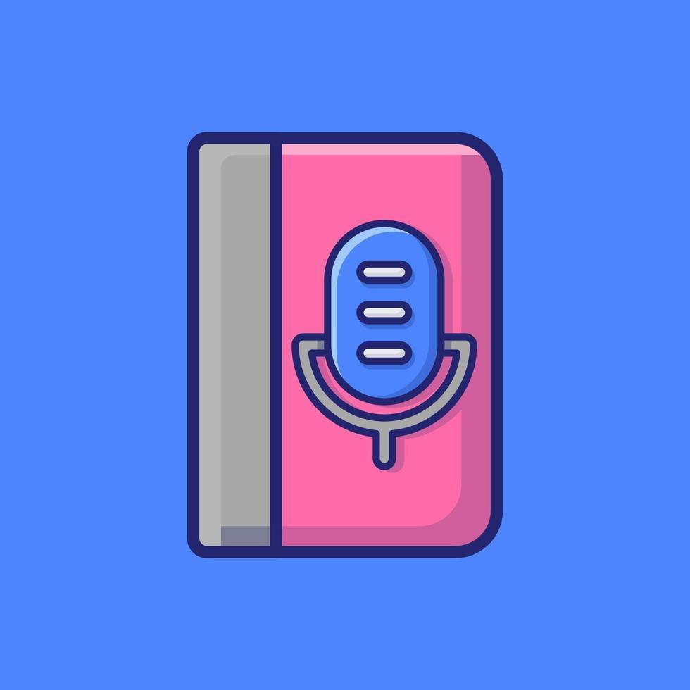 illustration d'icône de vecteur de livre audio. style de dessin animé plat adapté à la page de destination Web, bannière, autocollant, arrière-plan.