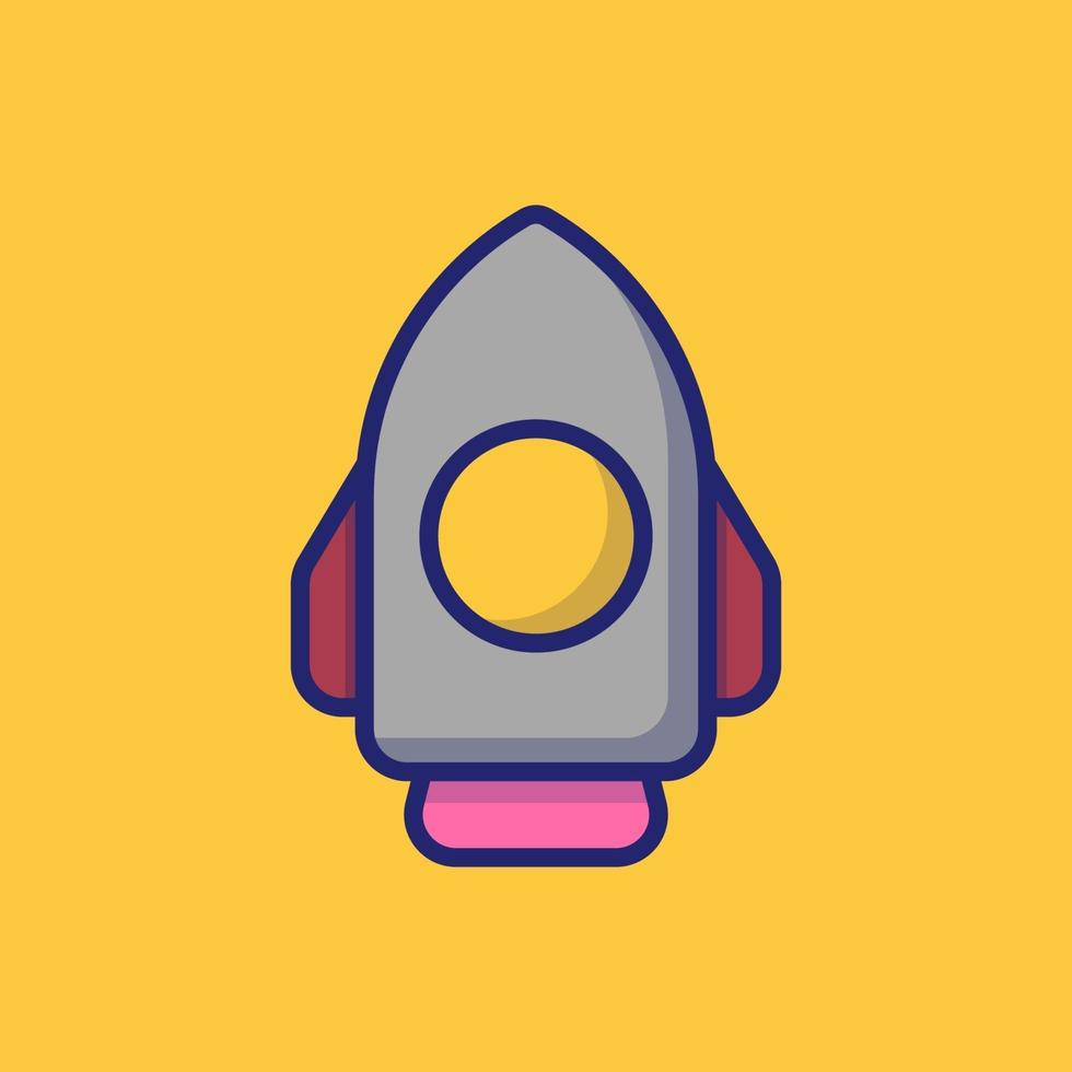 illustration d'icône de vecteur de fusée. style de dessin animé plat adapté à la page de destination Web, bannière, autocollant, arrière-plan.