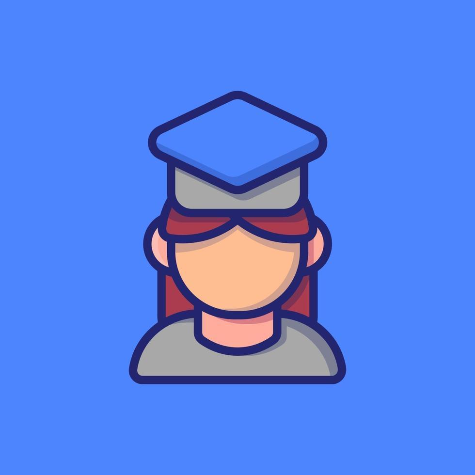fille diplômée icône illustration vectorielle. style de dessin animé plat adapté à la page de destination Web, bannière, autocollant, arrière-plan. vecteur