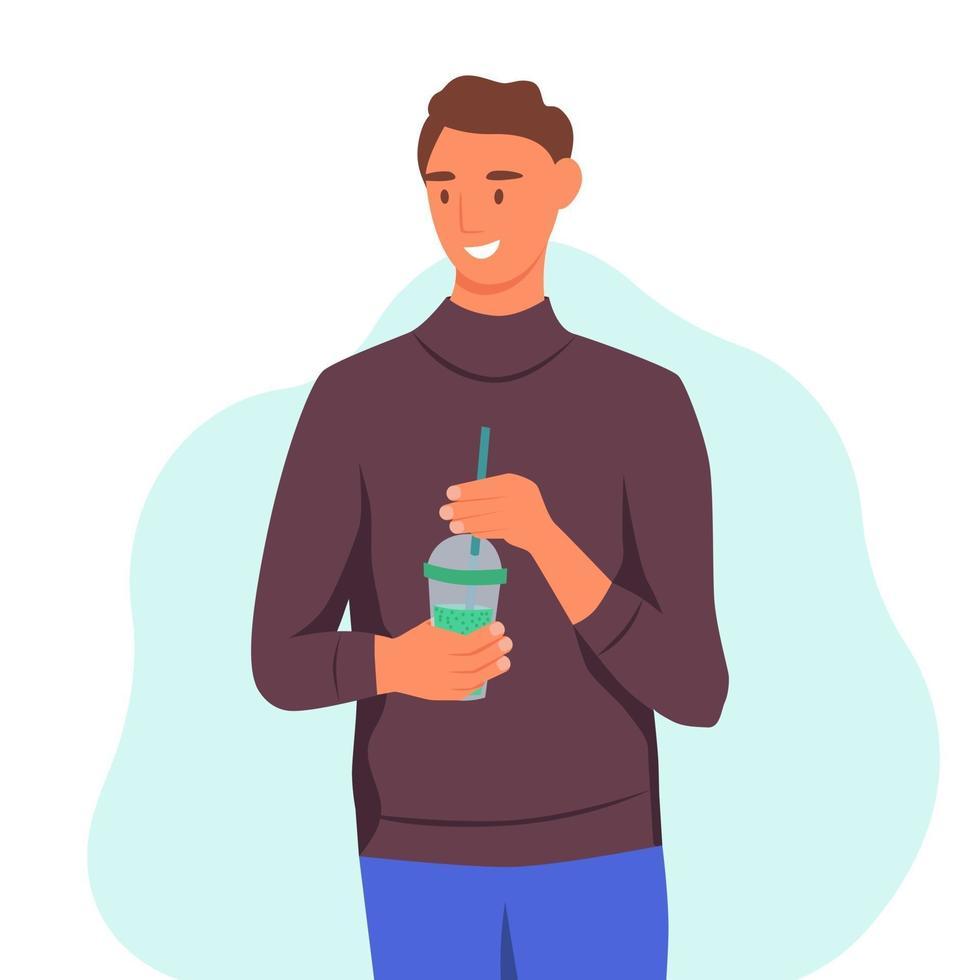 un jeune homme boit un smoothie, du jus de fruits frais, un cocktail. le concept d'une bonne nutrition, d'un mode de vie sain. illustration de dessin animé plat. vecteur