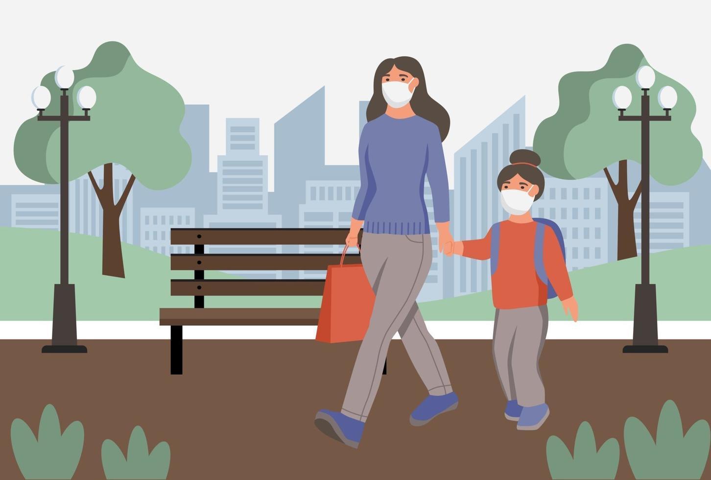 femme avec enfant en masque anti-poussière pour le visage wolk dans le parc. protection contre la pollution atmosphérique urbaine, le smog, la vapeur. quarantaine de coronavirus, concept de virus respiratoire. illustration vectorielle de dessin animé plat. vecteur