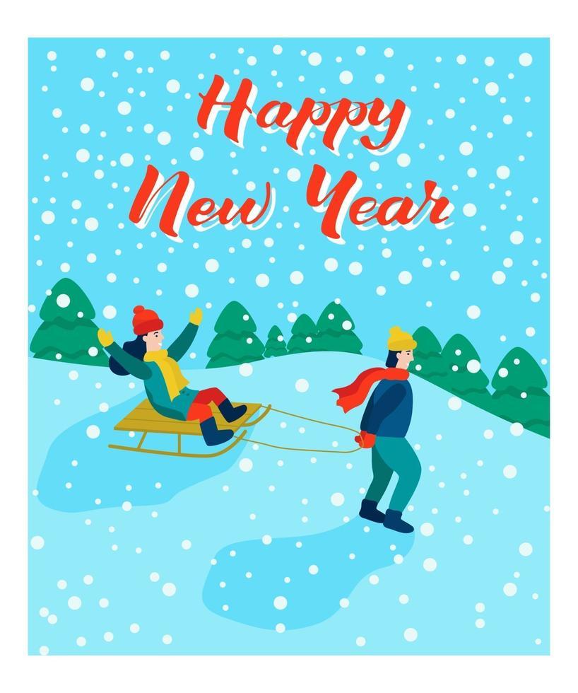carte de Noël. luge pour enfants. lettrage bonne année. illustration vectorielle. bannière, affiche, modèle. vecteur