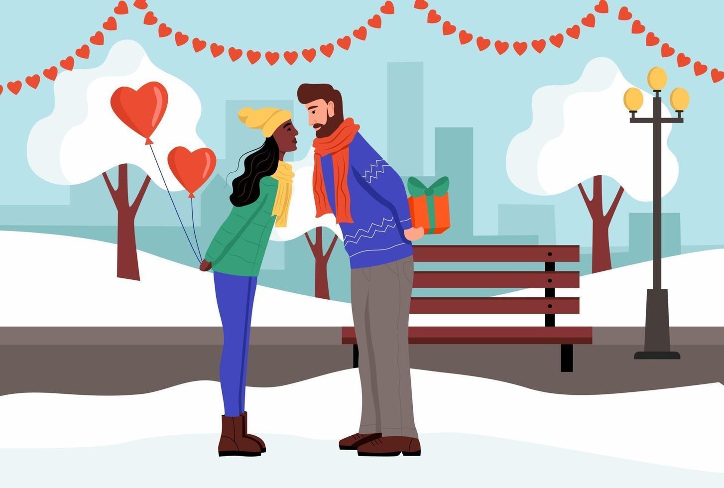 un couple échange des cadeaux et s'embrasse dans un parc d'hiver. un jeune homme et une femme célèbrent la Saint-Valentin. illustration vectorielle plane. vecteur