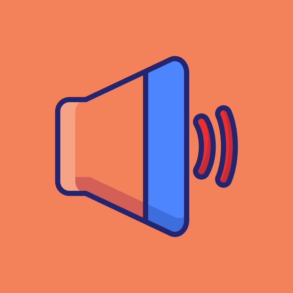 illustration d'icône de vecteur de haut-parleur. style de dessin animé plat adapté à la page de destination Web, bannière, autocollant, arrière-plan.