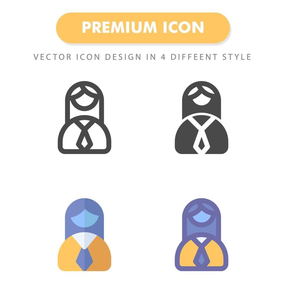 pack d'icônes de femme d'affaires isolé sur fond blanc. pour la conception de votre site Web, logo, application, interface utilisateur. illustration graphique vectorielle et trait modifiable. eps 10. vecteur