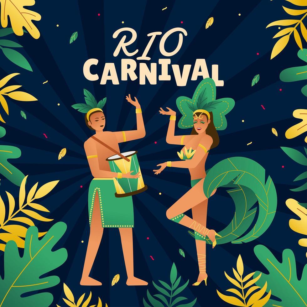 Danseuse brésilienne au carnaval de rio de janeiro vecteur