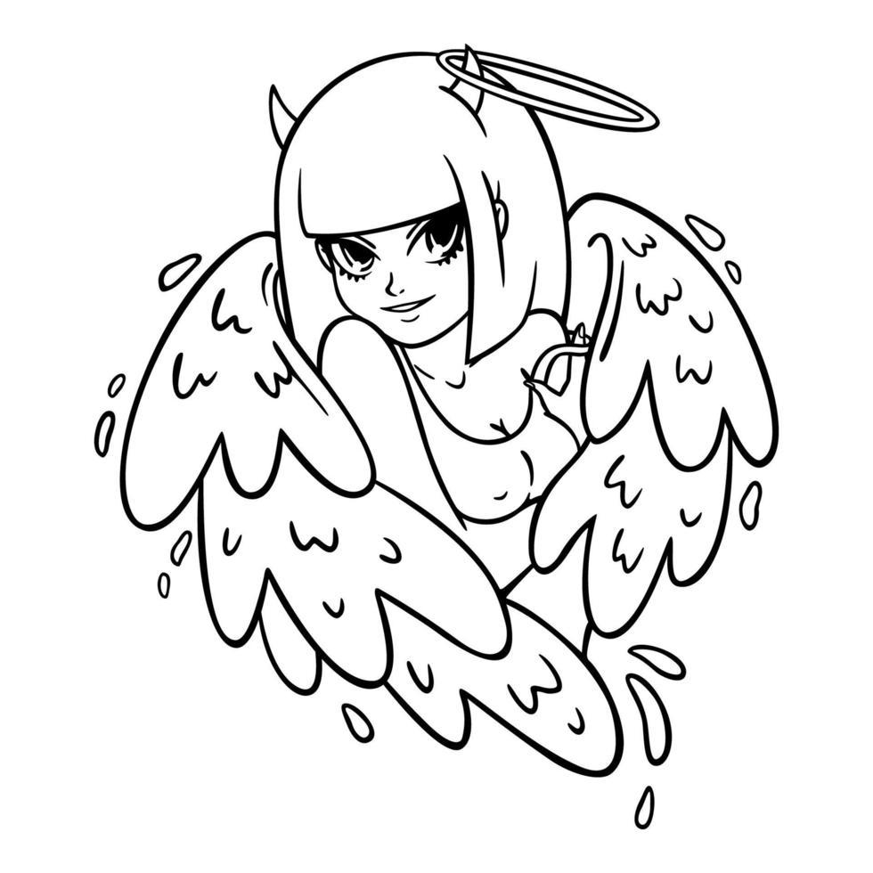 belle femme avec des ailes, des cornes et des nimbus. ange et démon, bien et mal. succube attrayant dans un débardeur. illustration vectorielle moderne pour les impressions de vêtements, les dessins de tatouage, les cartes de voeux. vecteur