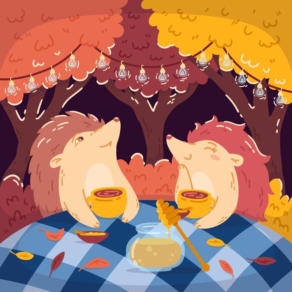 Tea Party hérissons dans la forêt d'automne, avec un pot de miel. des guirlandes lumineuses pendent sur les arbres. illustrations vectorielles pour enfants pour livres, affiches et cartes postales. fond boisé. vecteur