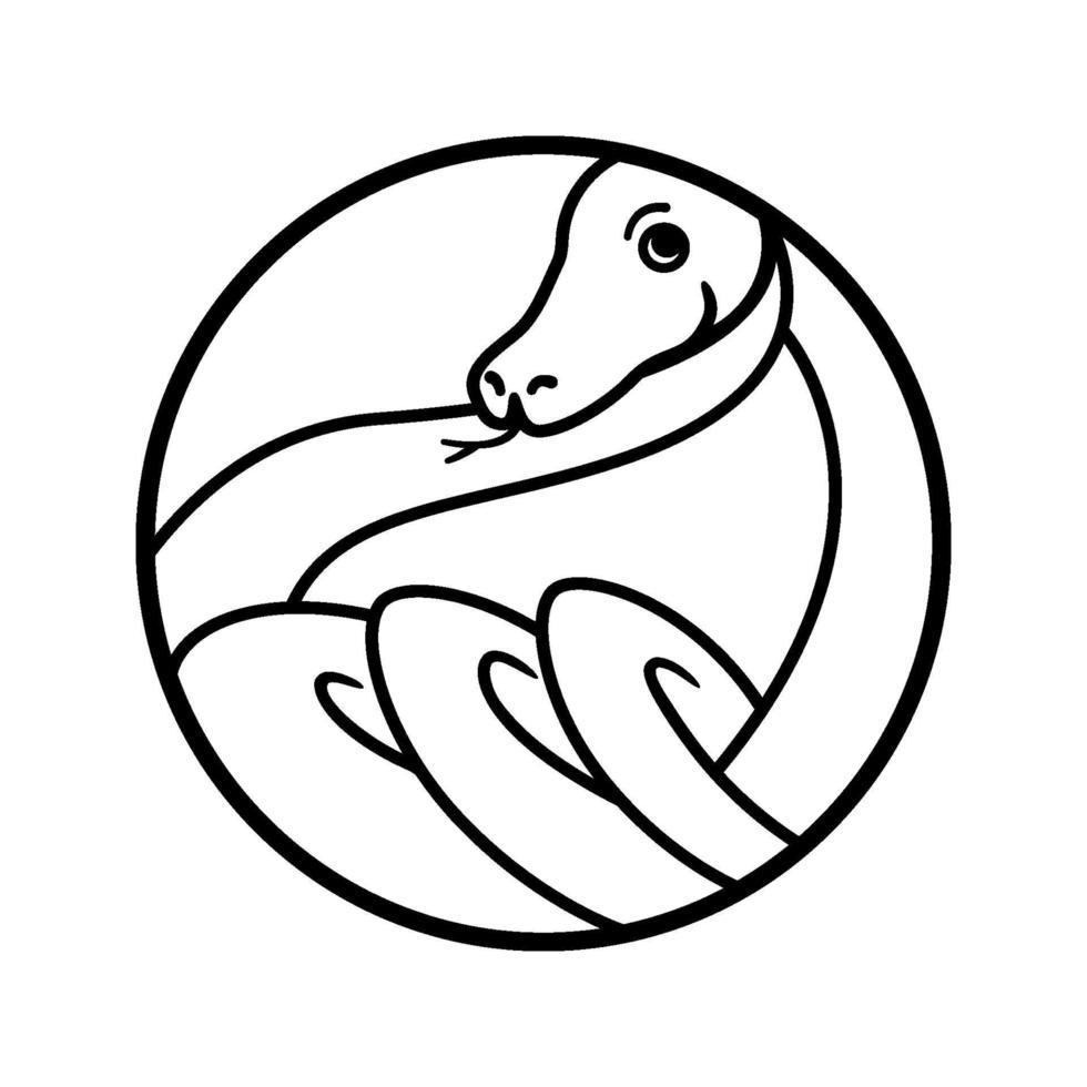 logo de contour de serpent. forme géométrique ronde. tordu reptile anneaux illustration graphique pour tatouage, autocollant, logo. dessin animé, style simple et minimaliste. dessin noir et blanc. vecteur