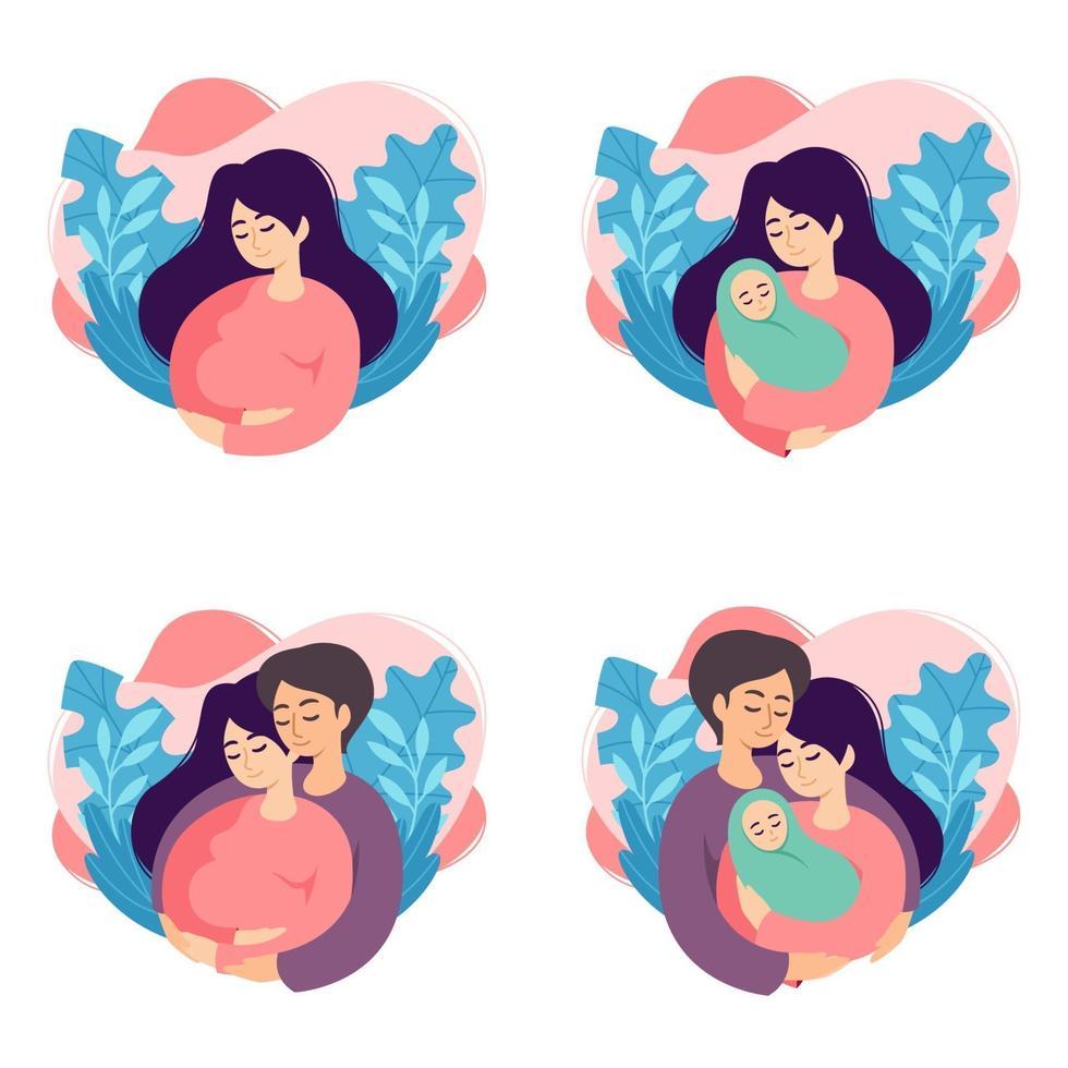 illustrations vectorielles de concept de grossesse et de parentalité. ensemble de scènes avec une femme enceinte, une mère tenant un nouveau-né, les futurs parents attendent un bébé, une mère et un père tenant leur nouveau-né. vecteur
