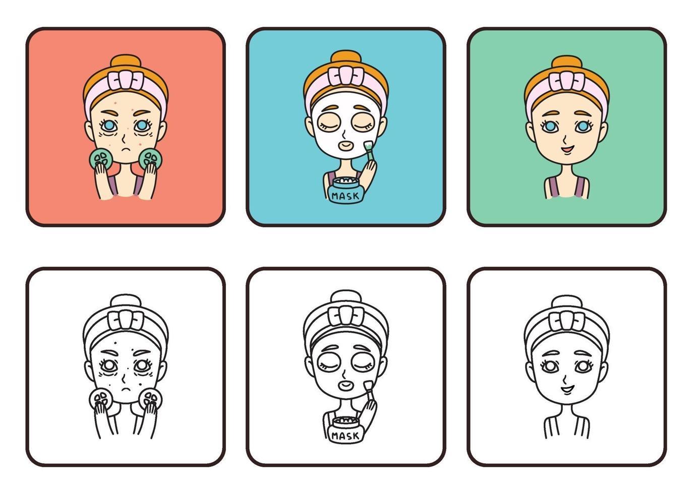 fille fait un masque facial. prends soin de toi. fille adolescente faire un masque avec des concombres. illustration vectorielle isolée sur fond blanc. vecteur