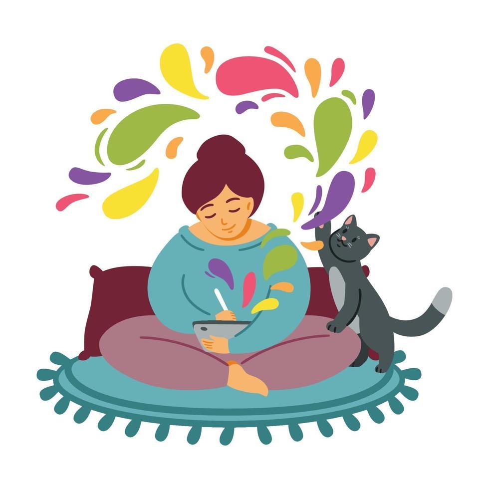 fille s'appuie sur une tablette. le chat joue sur le tapis. la femme passe confortablement du temps à son travail préféré. designer indépendant, travail à domicile. art informatique ou numérique. faire preuve de créativité. illustration vectorielle plane. vecteur