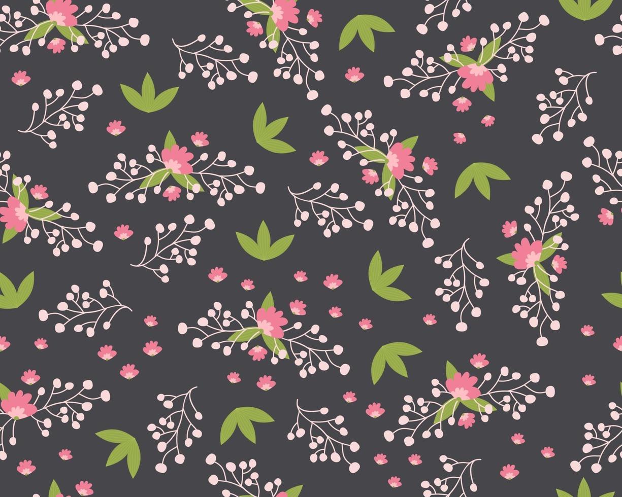 modèle sans couture avec de jolies fleurs. textile de flore d'été dessiné à la main vecteur