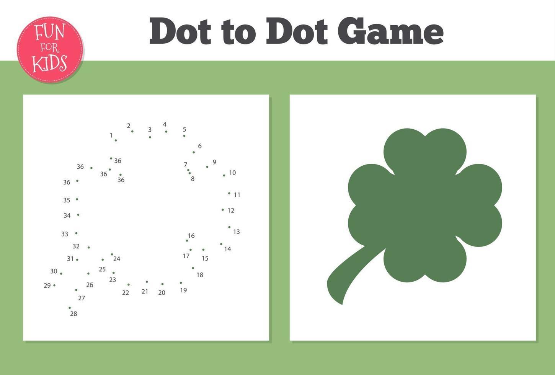 jeu de trèfle point à point pour l'enseignement à domicile des enfants. coloriage pour l'éducation des enfants. vecteur