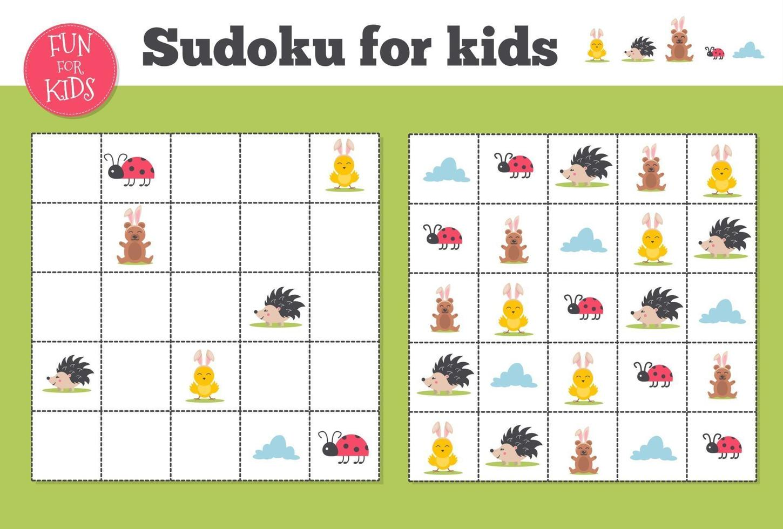 sudoku. enfants et mosaïque mathématique adulte. carré magique. jeu de puzzle logique. vecteur