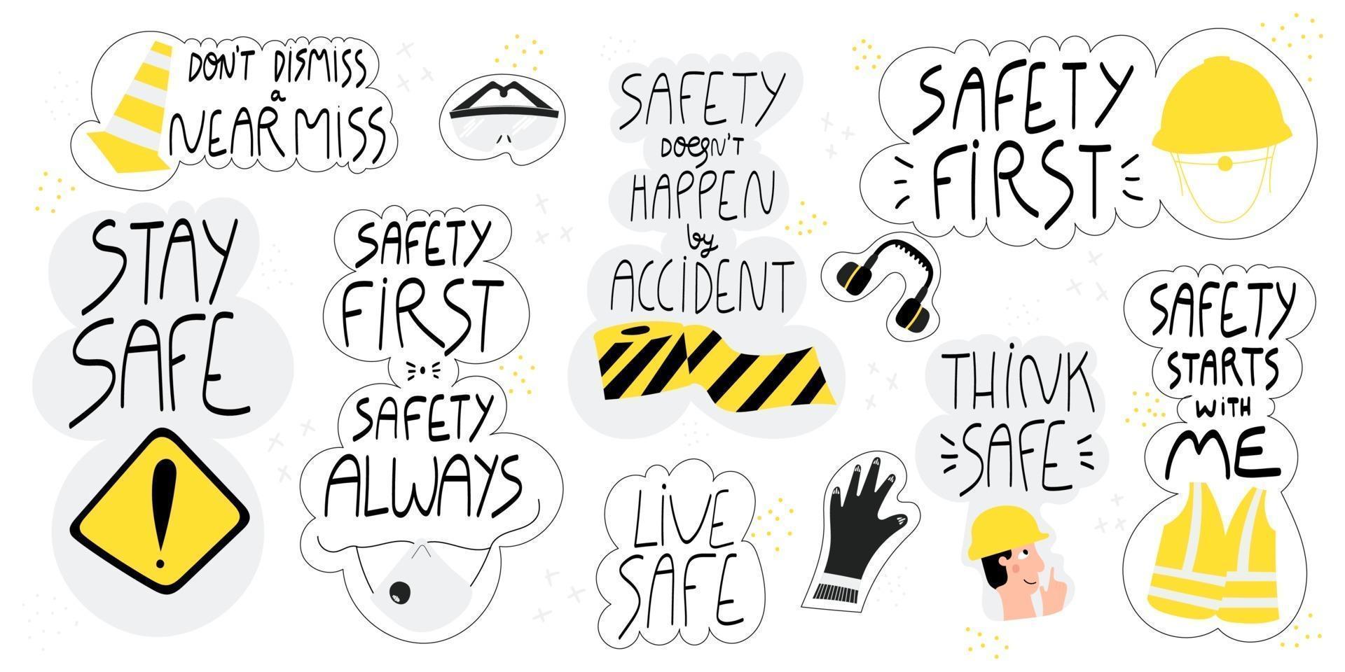 ensemble de lettrage dessiné à la main de sécurité vecteur
