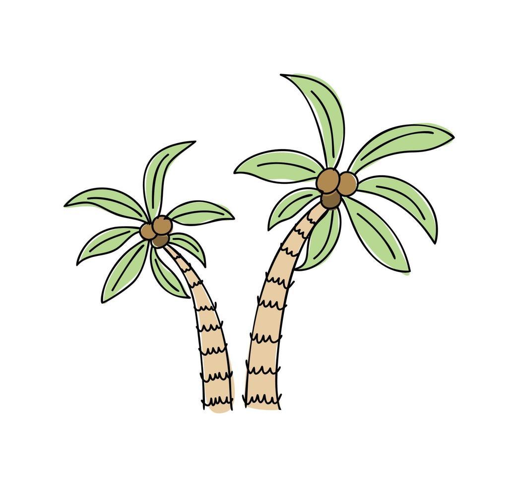 Doodle de palmiers tropicaux d'été vecteur scandinave isolé sur fond blanc illustration