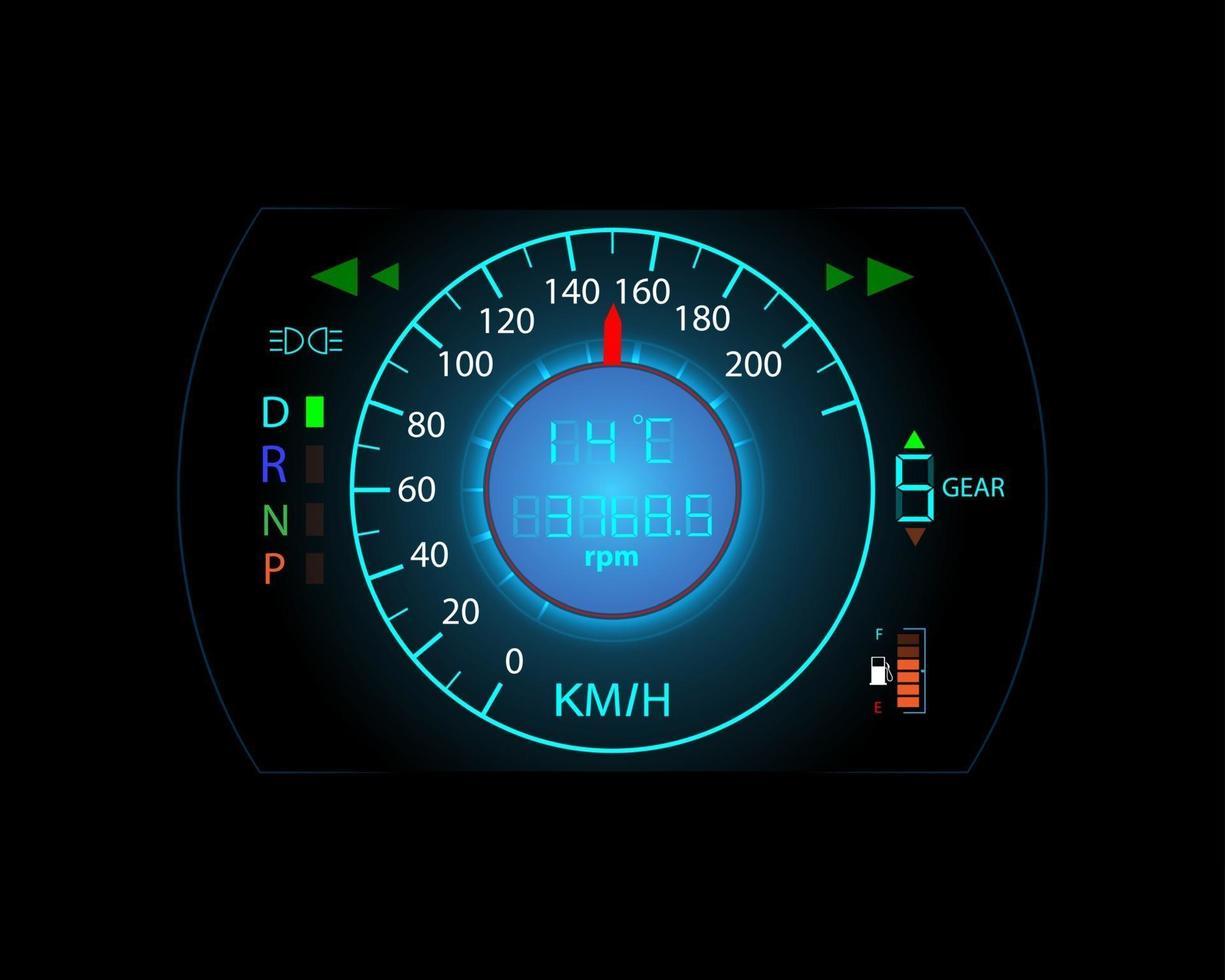 fond de mouvement du compteur de vitesse de la console de voiture et des icônes d'avertissement vecteur